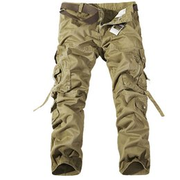 tactical jeans Promo Codes - Cotton Multi Pocket Outdoor Cargo Pants Military Style Khaki Outdoor Jeans Track Joggers Men Clothing Plus Size Tactical Trouers