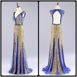 Wholesale Engagement Dresses Sleeves - Luxury Blue Evening Dresses with Gold Crystal Diamond Gorgeous Engagement Prom Dresses Sexy Backless Vestido Longo