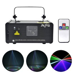 Wholesale laser dancing lights - AUCD IR Remote DMX 512 Mini 400mW RGB Full Color Laser Stage Lighting Scanner DJ Dance Party Show Projector Lights DM-RGB400