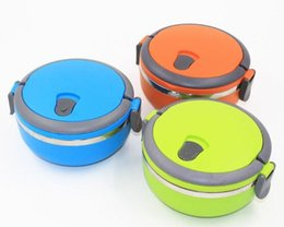 Wholesale Stainless Food Box - New Arrive Creative portable circular stainless steel insulation boxes green plastic student lunch box Child Bowl