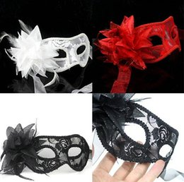 Wholesale Wholesale Glitter Masquerade Masks - 2015 new party mask sexy Women Feathered Venetian Masquerade Masks for a masked ball Lace Flower Shining Glitter Masks 3colors