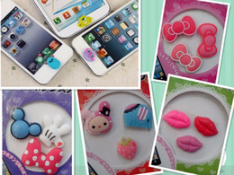 Wholesale Sexy Home Button Iphone - Wholesale-Sexy Mouth Home Button Sticker Paster For iPhone All Models Key Press Cute Cartoon Silicon