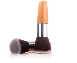 Wholesale Round Wooden Handle Brush - Makeup Brushes Make up EDM foundation make-up tool bamboo Advanced Nylon Wool wooden Handle flat round Head Brush
