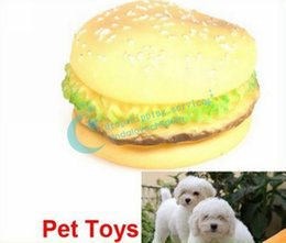 Wholesale Hot Toys Simulation - Wholesale-Yellow Color Attractive Simulation Round Shape Hamburger Sound Pet Dog Toys Hot Drop Shipping Free Shipping