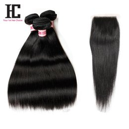 Wholesale hair extension sewing - 8A Peruvian straight hair with closure 4pcs Peruvian straight human hair wefts with lace closure 100% sew hair extensions
