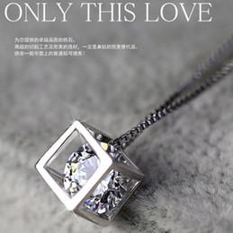 Windows love on-line-925 pingentes de prata esterlina amor quadrado cubo janela Coreano amor jóias de prata Colares Presente do Dia Dos Namorados