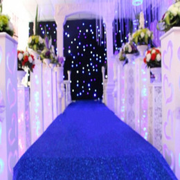 Wholesale Carpets Chinese Wholesalers - 1m wide Shiny Royal Blue Pearlescent Wedding Decoration Carpet T station Aisle Runner For Wedding Props Supplies Free Shipping