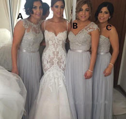 Wholesale Different Style Chiffon Bridesmaid Dresses - Free Shipping Hot 2017 Silver Chiffon Long Bridesmaid Dress Cheap Lace Applique Formal Different Styles Maid of Honor Dress