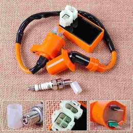 Wholesale Gy6 Cdi For Scooter - Racing Ignition Coil + Orange 6 Pin CDI Box + Spark Plug for GY6 50cc 70cc 90cc 125cc 150cc Scooter Go Kart Moped QMI157