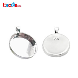 Wholesale round pendant trays - Beadsnice 925 sterling silver pendant trays cabochon mountings fit for 25.4mm round no stamp onloop ID 26727