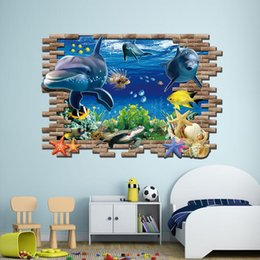 Wholesale Christmas Wall Decorations For Glass - 3D Sea World Wall Stickers Finding Nemo Submarine World Decorative Wall Decal Cartoon Wallpaper Kids Party Decoration Christmas Wall