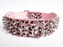 "Wholesale Leather Leopard Large Dog Collar - 1pcs 2"" wide pu Leather Dog Collar Spiked 15""-22"" Pitbull Studded Mastiff pink leopard Small Medium large WL-0602"