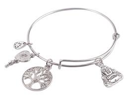 Wholesale Buddha Fashion Bangle - Hotsale 5PCS Fashion bracelet Silver Tone Recyclable Logo Buddha Male LogoInitial Letter Charm Expandable Wire Bangle