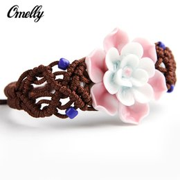 Wholesale Cheap Light Ropes - New Handmade Ceramic Flower Bracelet Light Pink Adjustable Size Clay Beading Rope Friendship Bracelet Jewelry Wholesale in Bulk Cheap