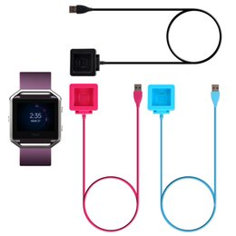 Astuto orologio rosa online-Per Fitbit Blaze Charging Cable Charger Power Adapter Dock Cradle Cable Wire Smart Watch con nero blu rosa