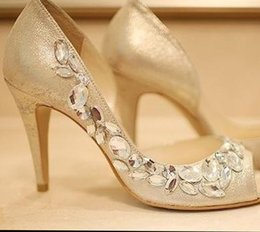 Wholesale Champagne Dress Shoes For Weddings - High heels Champagne Rhinestone Shoes wedding shoes for Bridal Shoes Bridesmaid Dress Sandals Peep Toe Party Evening Shoes Summer Sandals