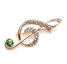 Wholesale Drop Ship Music - Free Shipping ! Top Qulity ! Gold Plated Mix Color Rhinestone Crystal Small Size Music Brooches and Pins Gift