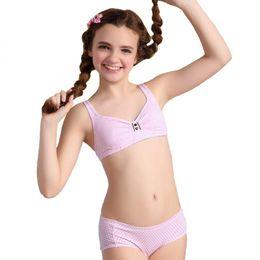 Wholesale Cotton Pants Bra - 2pcs 2016 Puberty Girls Cotton Bra And Pants Sets For Girls Kids girl underwear S1008 free shipping