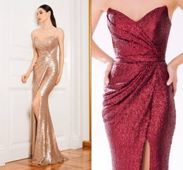 Wholesale Long Bridesmaid Dresses Bling - Prom Dresses 2016 Sexy Mermaid Bling Rose Gold Sequins Side Split Zipper Back Floor Length Cheap Arabic Evening Gowns Bridesmaid Party Dress