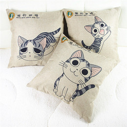 Wholesale Decorative Butterfly Pillows - Wholesale-Square Pillow Cases Lovely Cat& Butterflies Home Throw Decorative Pillow Covers