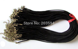 Wholesale Wholesale Bronze Wire - 50pcs black suede leather necklace cord with bronze end cap and lobster clasps