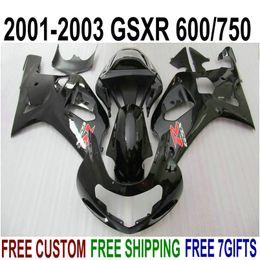 Canada Pièces de rechange en plastique pour SUZUKI GSX-R600 GSX-R750 2001-2003 K1 Kit de carénage en ABS GSXR 600 750 Set de carénage noir brillant 01-03 RA98 supplier gsxr k1 plastics Offre