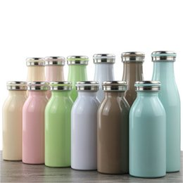 Wholesale Color Kettle - 350ml 500ml Vacuum Flask Water Bottle Double Wall Stainless Steel Insulated Water Bottle Portabe Milk Cups Random Color