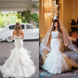 Wholesale Tulle Strapless Tops - Luxury Fitted Backless Wedding Dresses Mermaid Style Lace Top Strapless Sweetheart Ruffled Tulle Skirt Bridal Gowns with Beaded Sash