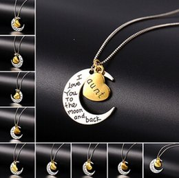Wholesale New Arrival Vintage Fashion Necklace - New Arrival Fashion Vintage Retro Moon Heart Pendant Necklace Father Mom Family Sister letter box chain Pendant necklace jewelry women