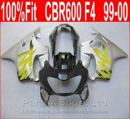 Wholesale Cbr Custom Fairings - Fitment glossy black yellow silver Body parts for Honda CBR 600 F4 custom fairings 1999 2000 CBR600 F4 99 00 fairing kit VYSP