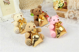 Wholesale Wholesale Teddy Boxes - 20pcs lot New Creative 11CM Plush Teddy bear for Wedding gift Candy Box bag celebration supplies Cute Free shipping