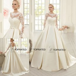 Wholesale Satin Bow Corset - 2015 New Wedding Dresses Bridal Gowns With Scoop Sheer Neckline A Line Long Illusion Sleeve Open Back Bow Corset Lace Floor Length 2016