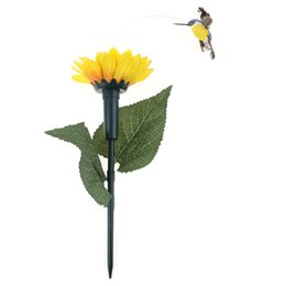 Wholesale Solar Hummingbirds - Wholesale- Solar Power Hummingbird Simulation Sun Flower Flying Bird Home Garden Decorations Funny Kids Toy Random Color