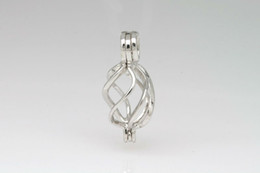 Wholesale Silver Bead Cages - 925 Silver Twisted Heart Shape Cage Lockets, Sterling Silver Wish Pearl  Crystal  Gem Bead Pendant Mountings for DIY Fashion Jewelry Charms
