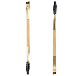 Профессионалы бровей онлайн-Wholesale-1Pcs Professional Brand  Double Angled Eyebrow Brushes Beauty Cosmetics Tools Studio Free Shipping