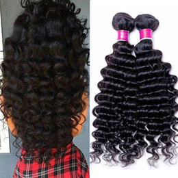 Wholesale Deep Weft Hair - 3Bundles 100g pcs Deep Curly Wave Brazilian Peruvian Malaysian Virgin Hair Weave Cheap Deep Curl Remy Brazilian Human Hair Extensions
