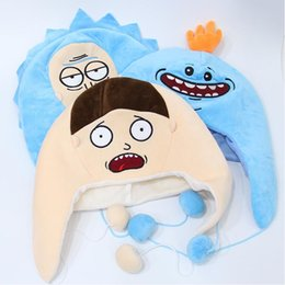 Wholesale Adult Comics Wholesale - Cartoon Rick and Morty Plush Hat Cosplay Cap Soft Stuffed Animal Gift for Adult High Quality Skullies Beanies hats for man