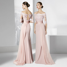 Wholesale Long Blush Chiffon Gowns - Blush Pink Bridesmaid Dresses Cheap Off Shoulder Half Sleeves Lace Chiffon Long Floor Formal Occasion Gowns Bridesmaids Wedding Party Gowns