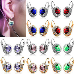 Wholesale czech earrings - Fashion Gold Silver Moon River Czech Diamond Hook Earrings Jewelry Swarovski Crystal Earings Round Stud Many Colours for Women