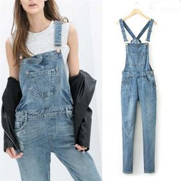 Wholesale Denim Jumpsuits For Women - Women Ripped Hole Denim Jumpsuits Ladies Sexy Slim Casual Romper Plus Siz 42 Denim Pencil Overalls For 4 season