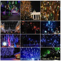 Wholesale snowfall tube lights - Led 2017 8PCS Set Snowfall LED Strip Light Christmas lights Rain Tube Meteor Shower Rain LED Light Tubes 100-240V EU US Plug
