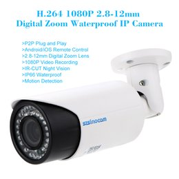 Wholesale Cmos 12mm - H.264 HD 1920*1080P 2.8-12mm 4X Digital Zoom Bullet Waterproof IP Camera with IR-CUT Motion Detection DHL S541