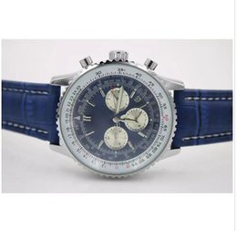 Wholesale Watches Navitimer - Top Quality New Brand automatic Men's Wristwatch NAVITIMER Ti3 Blue Dial Blue watches Leather 1884 Fashion Male luxury watch free shopping