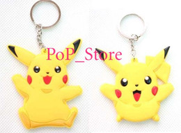 Wholesale Pikachu Jewelry - New arrive 300 Pcs Cute Cartoon Pikachu Logo Keychain Toys Keychains for Jewelry mixed order Wholesale