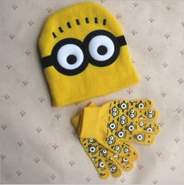 Wholesale Crocheted Girl Minion Hat - 2015 Christmas gift winter Minions cotton children knit cap Gloves Despicable Me minion Spider-man kids Hats-Gloves boys girls 2-8 years