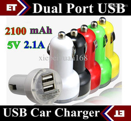 Wholesale Ego Car Chargers - DHL 100PCS Universal Dual Single USB 1 or 2 Port bullet mini Car Charger chargers Cigarette 2.1A Auto Power Adapter ego ego t ego c ego JE3