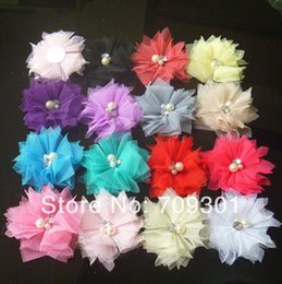 """Wholesale Tulle Rhinestone Flower Wholesale - 20 Colors 2 .0 """"Tulle Flowers with Rhinestone Pearl Center Lace Flowers Hair Accessories Fashion Headbands 100pcs"""