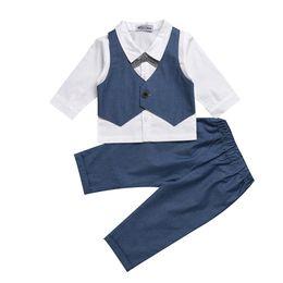 Argentina 3M-24M Azul marino Bebé Infantil de Negocios Traje de Otoño Chicos Bebés Guapos de algodón de estilo occidental a cuadros de manga larga + Pantalones trajes Suministro