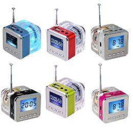 Wholesale Iphone 4s Sound Speaker - Nizhi TT-028 LED Crystal Mini Speaker Portable Speakers FM TF U Disk LCD Display Subwoofer for iPhone 6 Plus 4S 5 MP3
