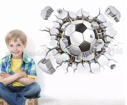 Wholesale Nursery Wallpaper Boy - 3d Football Soccer Playground Broken Wall Hole view quote goal home decals wall stickers for kids rooms boy sport wallpaper DIY Soccer MYY
